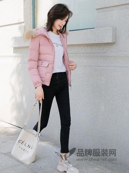 左韩女装2018秋冬短款羽绒棉大毛领棉服女棉衣外套