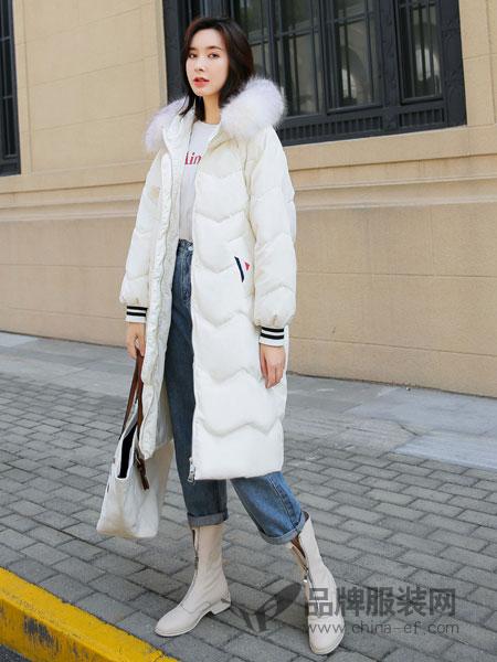 左韩女装2018秋冬中长款纯白加绒羽绒服