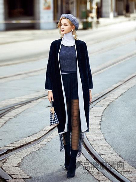 领弟女装2018秋冬中长款英伦风黑色外套