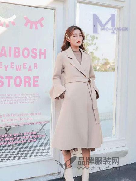 M+女装2018秋冬微喇袖修身中长款双面羊绒大衣外套