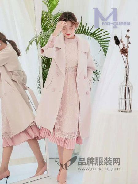 M+女装2018秋冬流行粉色格子仿水貂绒呢子外套中长款毛呢大衣