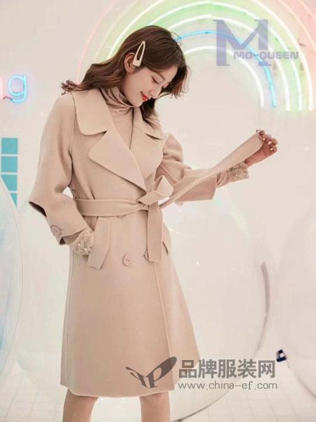 M+女装2018秋冬韩版过膝加厚流行呢子大衣潮