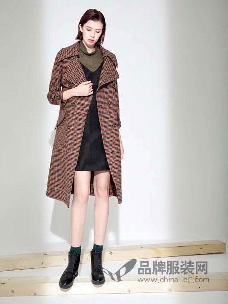 IreneCee女装2018秋冬呢子大衣格子双面呢羊毛呢风衣外套