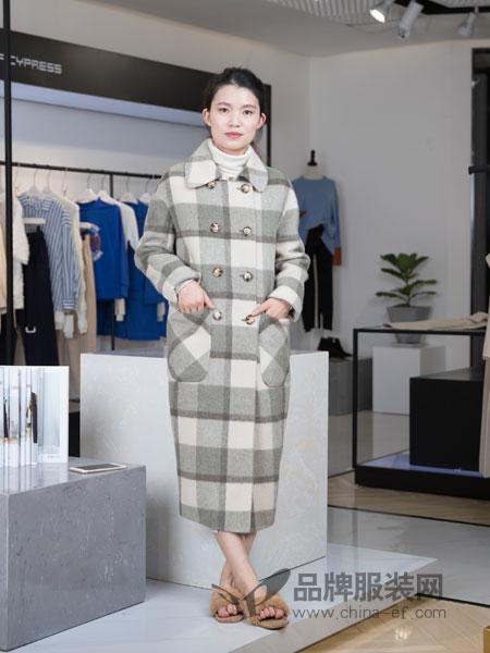 IreneCee女装2018秋冬双排扣格子中长羊毛呢外套