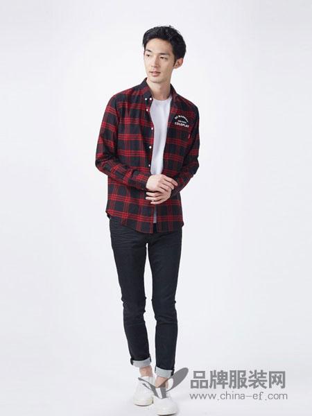 杰克沃克JACKWALK男装2018秋冬长袖纯棉休闲帅气修身红色格子上衣