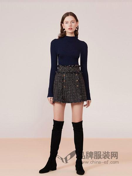 艾薇女装2018秋冬新款小香风双排扣流苏高腰女半身裙