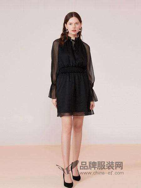 艾薇女装2018秋冬新款拼接荷叶袖收腰复古风女连衣裙
