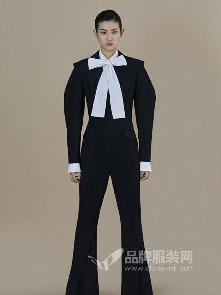ANIRAC女装2018秋冬新款黑色西装外套阔腿连体裤