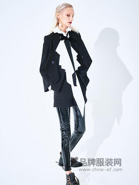 DevilBeauty女装2018秋冬收腰双排扣V领西装短外套时尚上衣