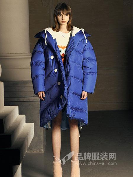 DevilBeauty女装2018秋冬中长款防寒保暖白鸭绒外套