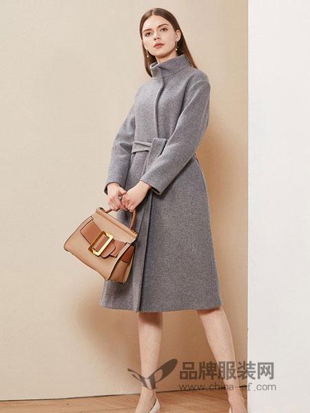 卡迪黛尔女装2018秋冬新款中长款韩版收腰灰色立领羊毛大衣