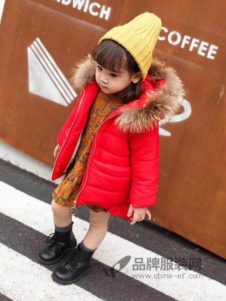 彩色笔童装2018秋冬韩版带帽儿童羽绒棉棉袄外套