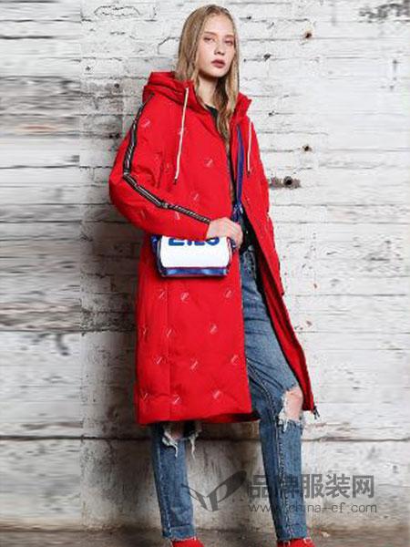 艾莉缇女装2018秋冬中长款红色加绒羽绒服