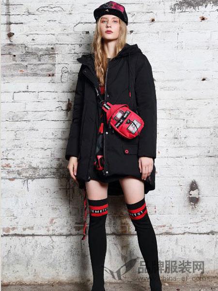 艾莉缇女装2018秋冬黑色中长款连帽羽绒服