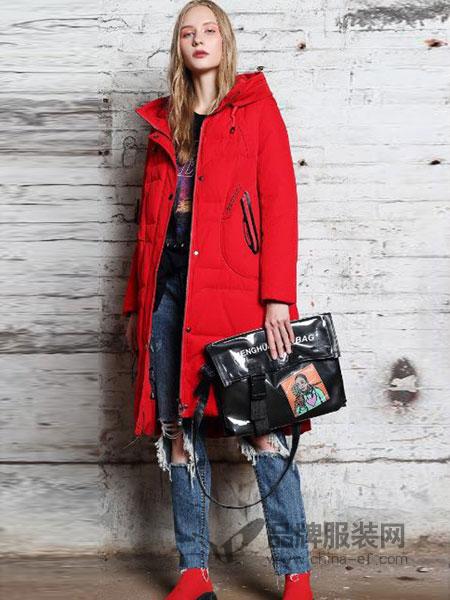 艾莉缇女装2018秋冬红色中长款加厚保暖羽绒服