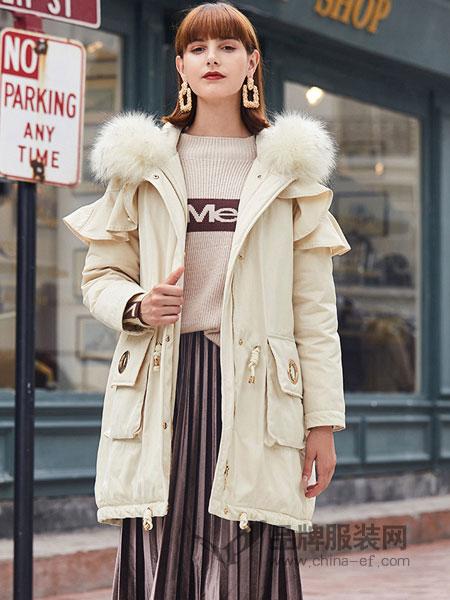 春美多女装2018秋冬新款韩版口袋宽松收腰中长款外套潮