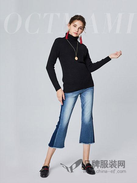 O.C.Tmami 十月妈咪女装2018秋冬高领修身纯色针织长袖