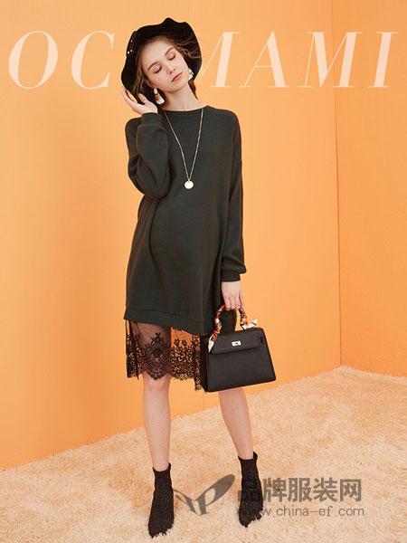O.C.Tmami 十月妈咪女装2018秋冬针织出色拼接蕾丝中长款连衣裙