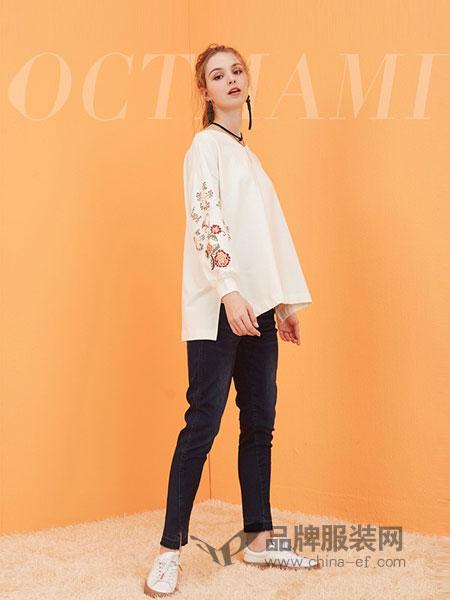 O.C.Tmami 十月妈咪女装2018秋冬刺绣袖宽松前短后长长袖