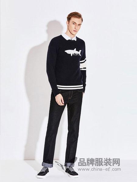 YANPENG、古老鲨鱼男装2018秋冬鲨鱼图案针织套头衫