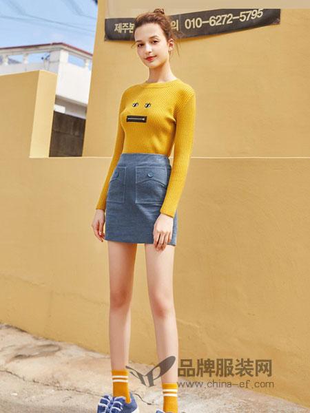 蓝色倾情女装2018秋冬长袖圆领针织衫不规则修身半身裙裤两件套