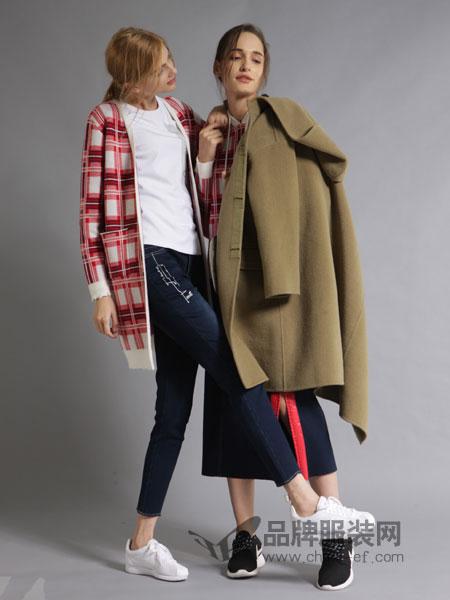 ZIRONG子容女装2018秋冬长袖时髦宽松开衫格子针织外套