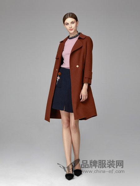 凡恩女装2018秋冬羊驼毛外套中长款双宽松面呢大衣新款