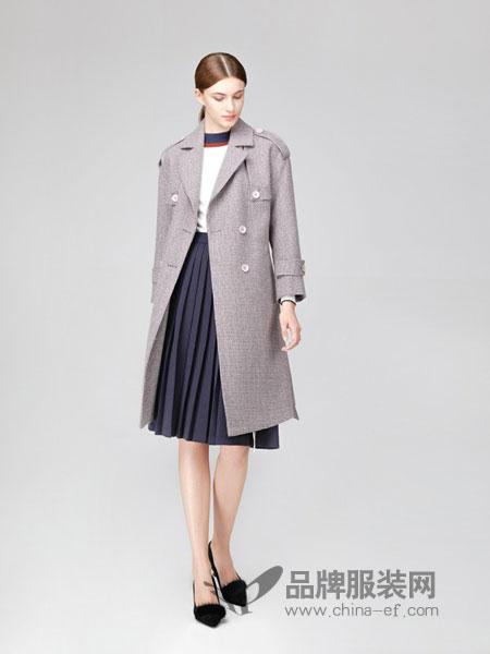 凡恩女装2018秋冬西装领系带英伦羊毛大衣女双面呢毛呢外套