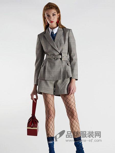 曼诺比菲女装2018秋冬新款时尚复古格纹长袖修身中长款风衣外套