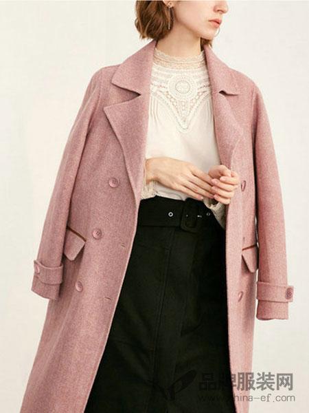 莉莉女装2018冬季人字呢修身长款羊毛大衣毛呢外套