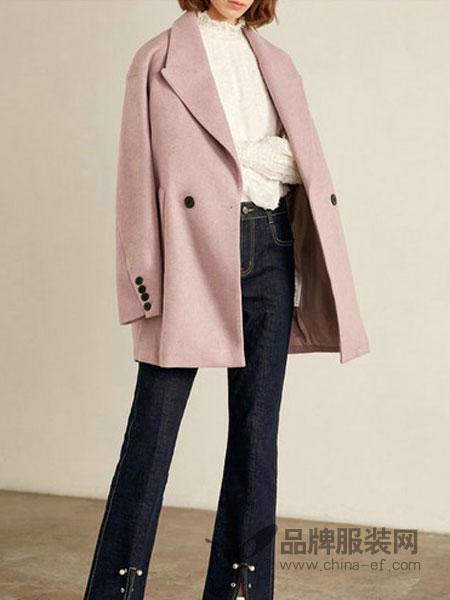莉莉女装2018冬季韩版宽松大廓形浅紫中长款毛呢大衣外套