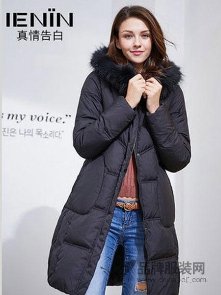 真情告白女装2018冬季韩国修身收腰大毛领羽绒服外套中长款