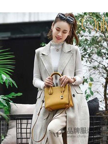 哥姊虞(GEZIYU)、傲丽佩娜(onlypena)女装2018冬季显瘦中长款双面羊绒呢料马甲外套潮