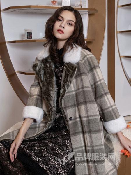 图案女装2018秋冬新款潮流时尚加绒保暖呢子格大衣