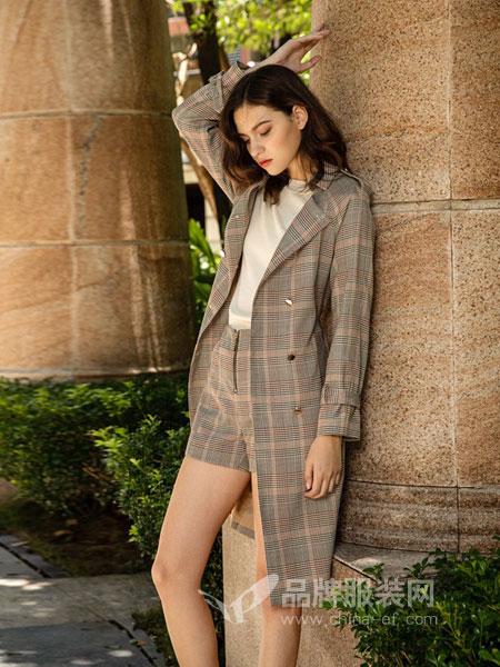图案女装2018秋冬双排扣金属扣系腰带羊毛呢大衣外套