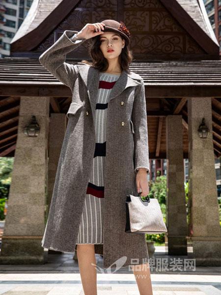 图案女装2018秋冬新品通勤翻领收腰羊毛呢大衣宽松中长款双面呢外套
