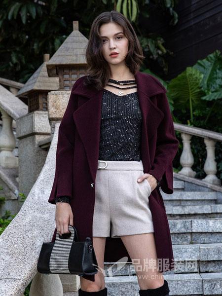 图案女装2018秋冬修身显瘦呢外套西装领双排扣呢子大衣韩版