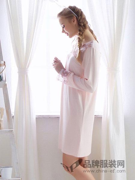 Chaqujour内衣2018秋冬长袖睡裙