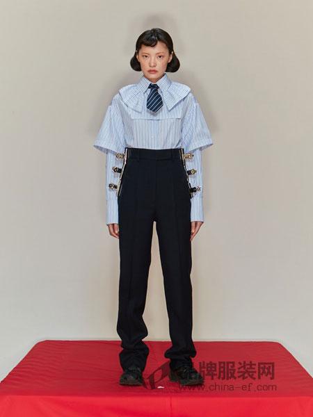 SHUSHU/TONG女装2018秋冬 拼接长袖衬衫领修身显瘦百搭上衣