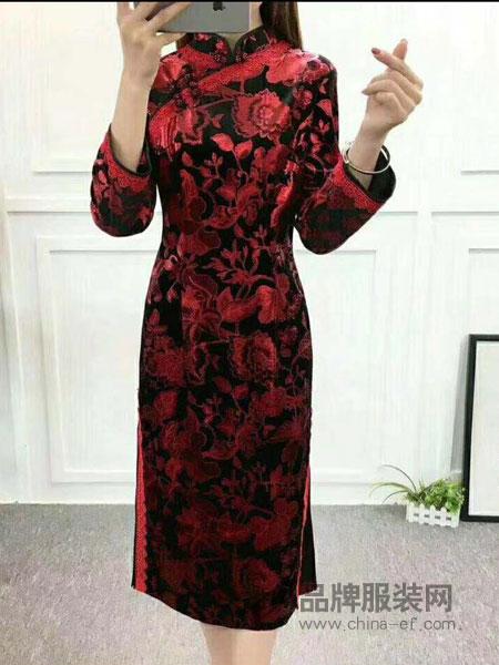 唐雅阁女装2018秋冬新款中式妈妈装长袖旗袍裙连衣裙日常