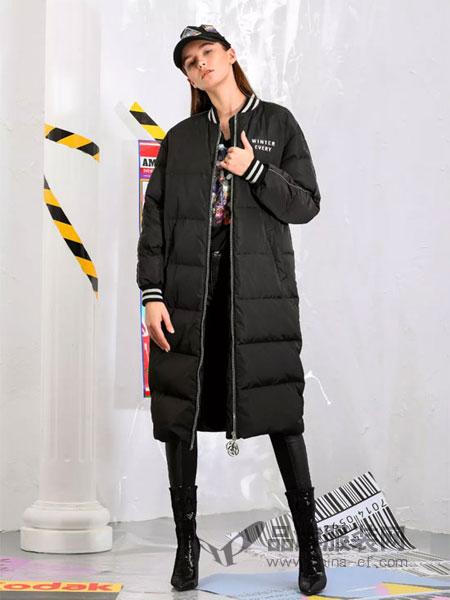 维斯提诺女装2018秋冬棒球领外套潮棉衣女中长款韩版修身棉袄