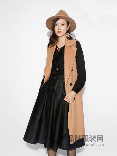 丹时尼女装2018秋冬新款羊毛中长款双排扣无袖马甲外套