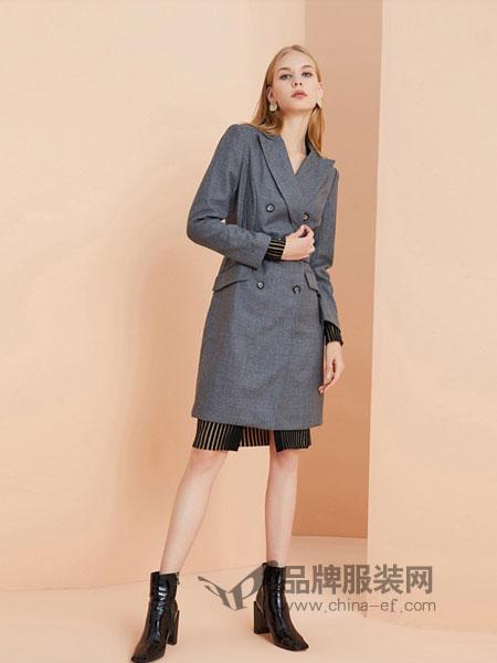 OBEG(欧碧倩)女装2018秋冬新款修身羊毛直身裙干练时尚西装连衣裙
