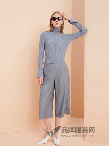 OBEG(欧碧倩)女装2018秋冬条纹阔腿裤套装女韩版高腰显瘦