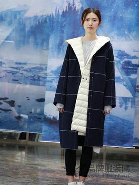纯粹女装女装2018秋冬格子大衣中长款时尚流行外套女