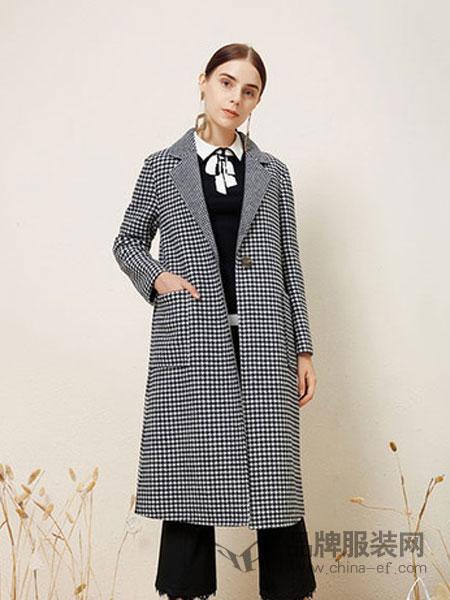 朝花夕拾女装2018冬季100%全羊毛大衣双面呢中长款格子羊绒毛