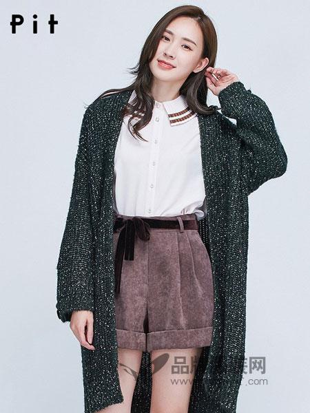 pit女装2018秋冬新款通勤韩版中长款毛衫开衫长袖纯色加厚