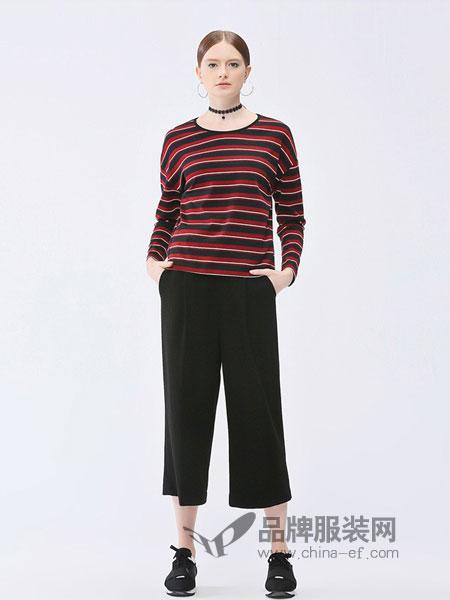 梦之屋女装2018秋冬新款宽松舒适红咖条纹显瘦休闲长袖T恤