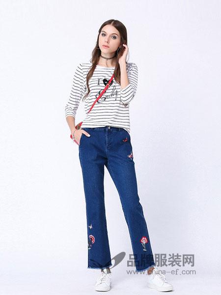 梦之屋女装2018秋冬新款裤子修身显瘦微喇阔腿牛仔裤