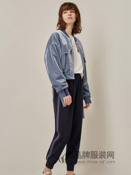 FIRSTVIEW女装2018秋冬新款短上衣复古系带拉链短款外套